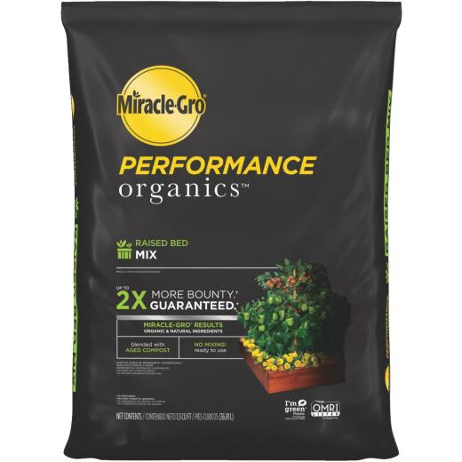 Miracle-Gro Performance Organics 1.3 Cu. Ft. 1 Lb. Raised Bed Vegetables, Fruits, Herbs Garden Soil