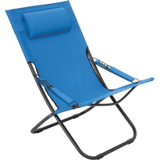 Outdoor Expressions Folding Blue Hammock Chair with Headrest